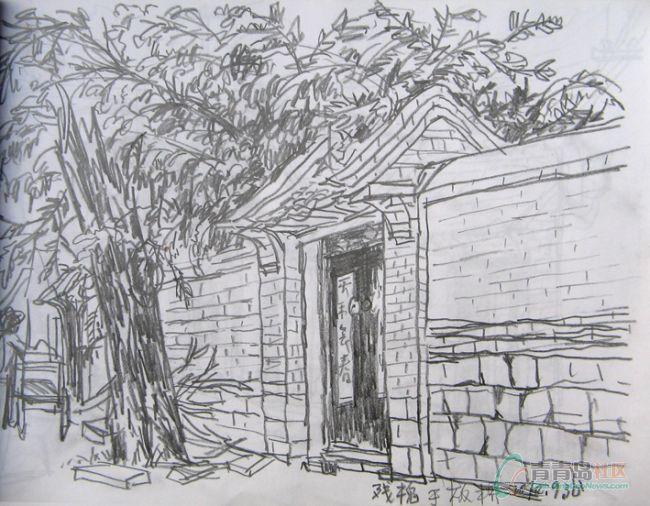 欧式房屋铅笔画