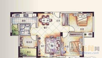 卓越蔚蓝群岛二手房,城阳 2室2厅2卫 94平米 总价:98