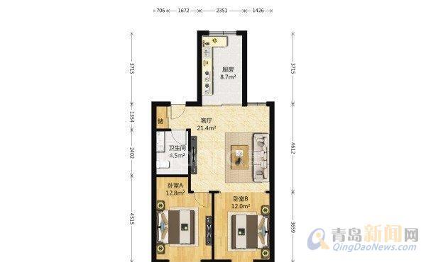 新侨花园二手房,市北 2室1厅1卫 96平米 总价:259万元