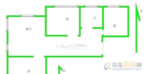 迪维花园二手房,黄岛 2室2厅1卫 96平米 总价:144万元