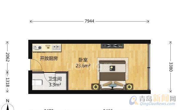 万达39克拉 酒店式公寓 修 东向套一,青岛市北商务区万达39克拉二手房