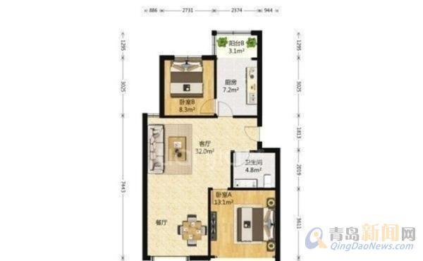 中海公寓 素质住户 多层三楼 套三,青岛市北浮山后中海公寓二手房三室