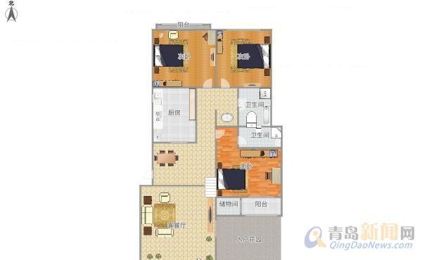 蔚蓝群岛 花园洋房 一楼带院 尊享独处空间 客厅带错层 立体空间,青岛