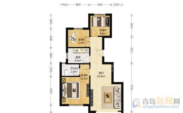 臻园3室1厅 92-住宅出售-二手房房源-青岛新闻网房产