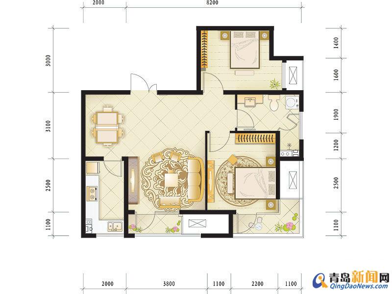 两室两厅90平方米住宅装修招标书119号 预算半包5 7万 青高清图片