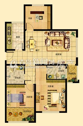 盛世美邦126㎡三室两厅两卫3e户型