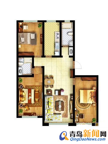 97平方米住宅装修招标书383号 预算半包5 7万 青岛新闻网家居装修高清图片
