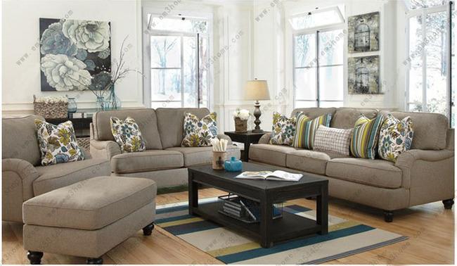 美式现代布艺沙发三人位 单椅