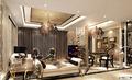 客厅方案一:亮点在镂空隔断,既担当了电视背景墙的作用,也成功区分了客厅与餐厅两个空间  艺术总监:董玉宝  设计说明:本案采用欧式新古典风格,本案设计无论是家具还是配饰均以其优雅、唯 美的姿态,平和而富有内涵的气韵,描绘出居室主人高雅、贵族之身份。 常见的壁炉、水晶宫灯、罗马古柱亦是新古典风格的点睛之笔。中西合璧, 使东方的内敛与西方的浪漫相融合,也别有一番尊贵的感觉。