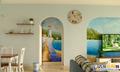 拱形门漂亮,墙绘画更增添意境  装修方式:轻工辅料 装修造价:2.8万 设计师:范凯 设计案例:有一种叫地中海的装修风格悄然流行,时尚小清新!