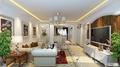 楼上客厅:白色调简欧风格,更多用墙面和顶面造型突出设计感  装修方式:轻工辅料 装修造价:8.9万(两层) 设计师:王开艳 设计说明:本案楼上采用欧式装修风格,并融入现代生活元素。色彩清新明快,既保留了欧式的典雅,又更适应现代生活的悠闲与舒适。