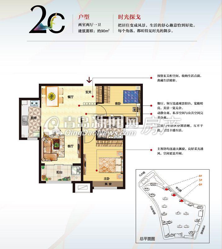 青岛新房 李沧区 中海国际社区一里城  中海国际社区一里城2c户型--90