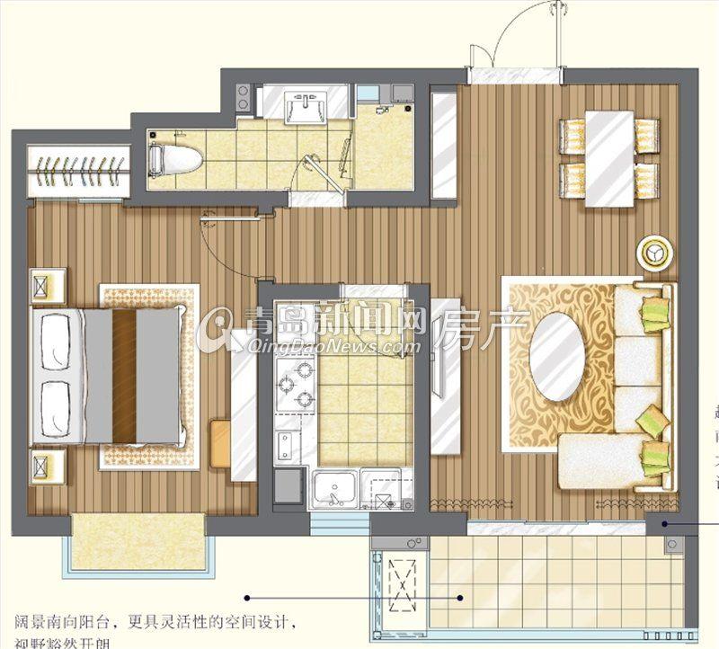 青岛/青岛新世界高层户型A一室两厅一卫70㎡