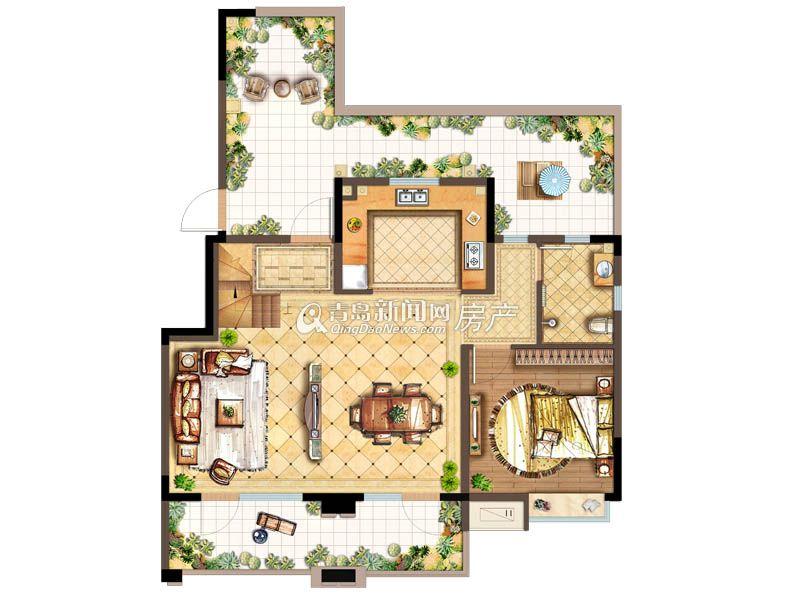 新城香溢紫郡d1 2户型140㎡三室两厅三卫一层 大图展示图片