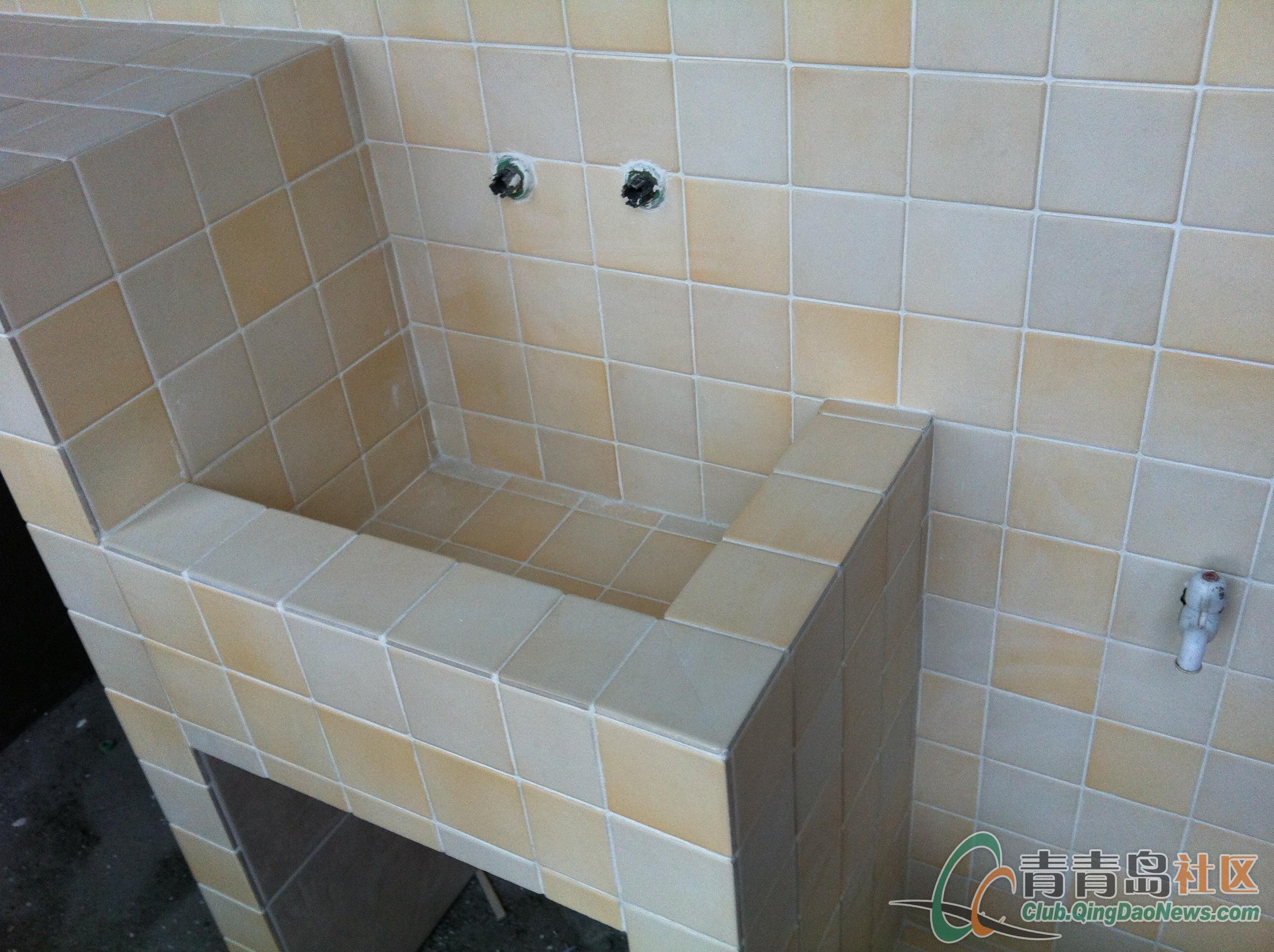 设计图分享 洗手间洗衣机设计图  一楼阳台洗衣机洗手台拖把池 宽2592
