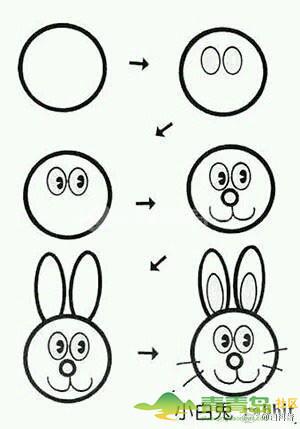 圆形和方形组成的简笔画动物们