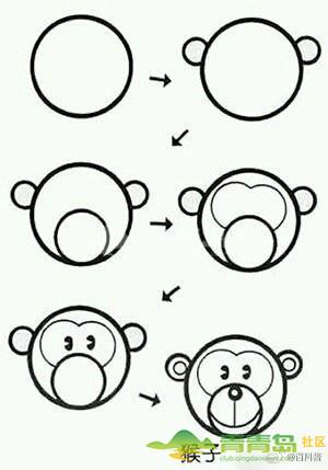 圆形和方形组成的简笔画动物们,分分钟学会[酷]图片