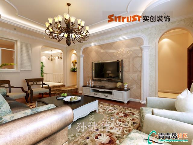 设计理念:电视墙的造型采用斜铺瓷砖及石膏罗马柱的结合,既体现了欧式