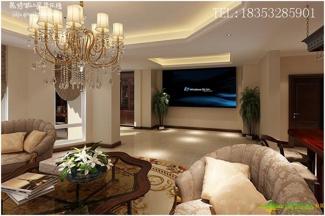 城阳喜山别墅装修案例-254平房子美式风格设计