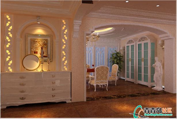 欧式华贵冠青龙庭院别墅530平装修设计 青岛实创装饰