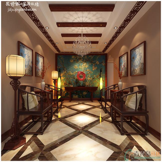 青岛小镇350平新中式风格别墅装修效果图--开发区新