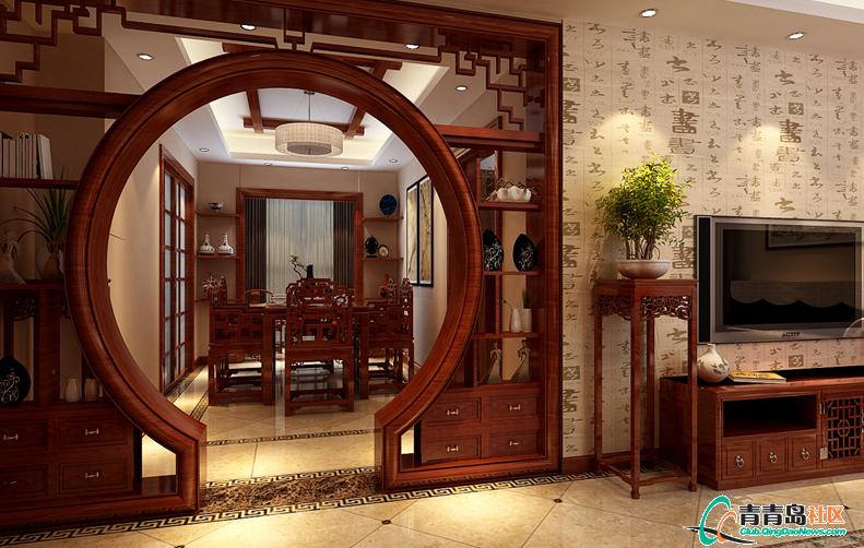 143平中式风格|香山美墅装修效果图|青岛实创装饰