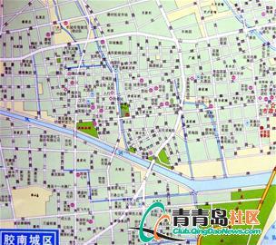 南城区地图,找到了二十多条道路与青岛城区相同
