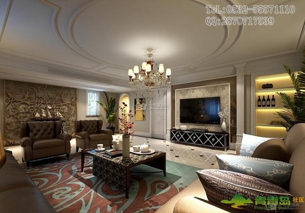客厅电视背景墙茶色玻璃边框