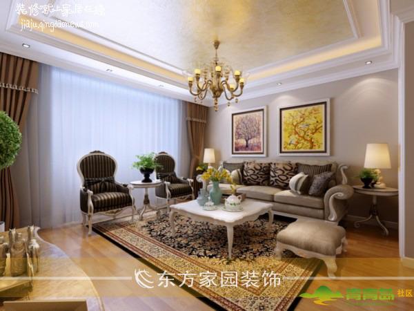 客厅直线灯槽吊顶|窗帘飘窗|壁纸|实木复合地板|欧式