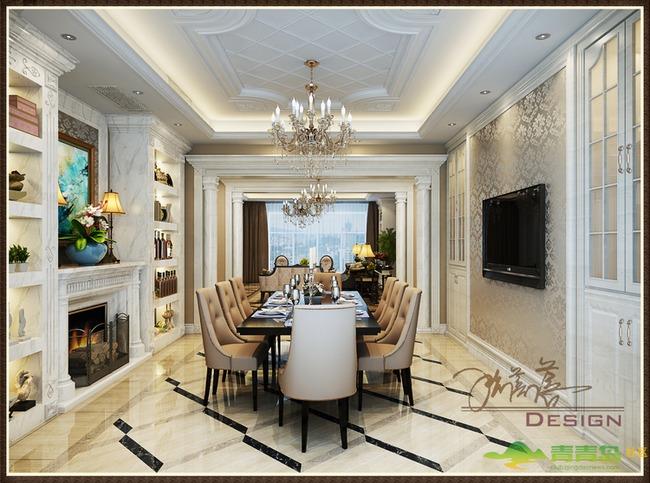 欧式风格简洁明快装修设计图--青岛东方家园别墅案例