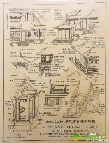 建筑大师梁思成手绘中国古建筑图