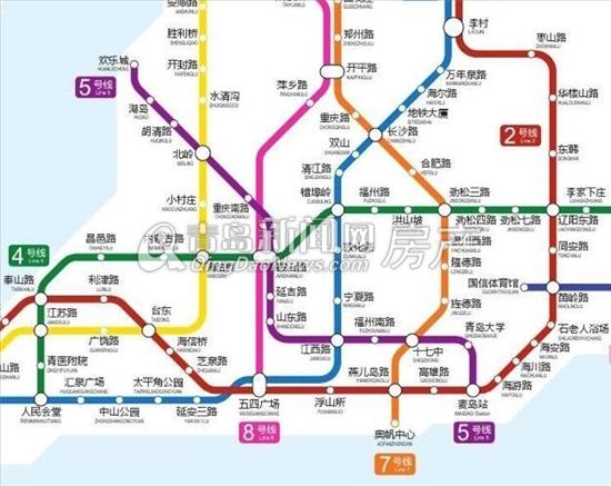 青岛地铁远景规划图截图 第一城邻地铁M5始发站-青岛最新房价地图出