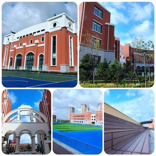 可以看出,该学校红色欧式建筑外立面,与蓝天白云呼应,校园风景如画
