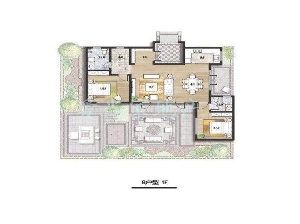 天泰桃花源一院一平-别墅出售别墅圆门小型图的室内图片