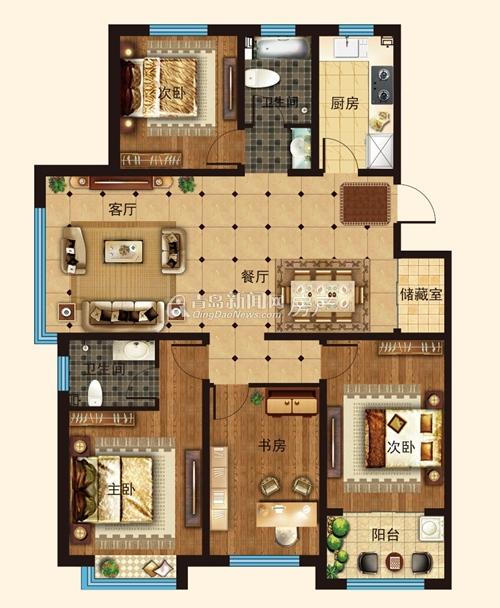 青岛新房 平度 景泰苑  景泰苑a户型四室两厅两卫约140.84-141.